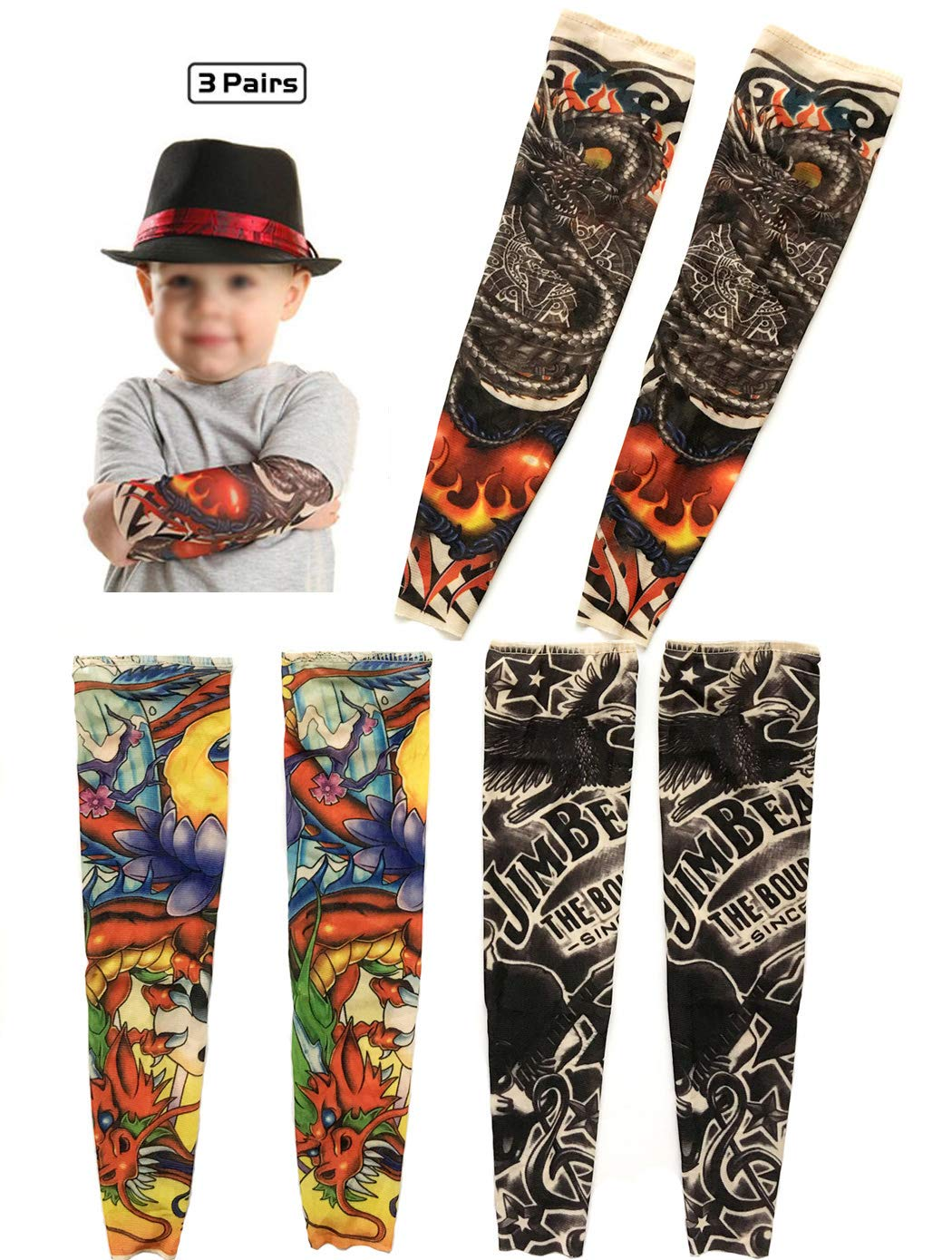 Temporary Tattoo Sleeves for Kids, iToolai Art Cooling Arm Cover Up Fake Tattoo Sleeves for Boy Girl Sunscreen(3 Pairs)