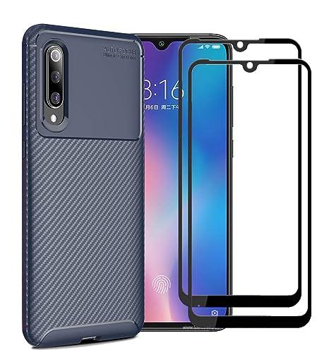 XIFAN Funda para Xiaomi Mi 9, Cubierta Fina de Silicona, Carcasa Suave y Duradera con Fibra de Carbono, Azul + [2 Pack] Protector de Pantalla