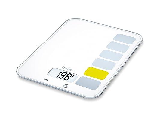 Beurer KS 19 - Balanza de cocina, 5 kg/1 gr, botón táctil, color blanco