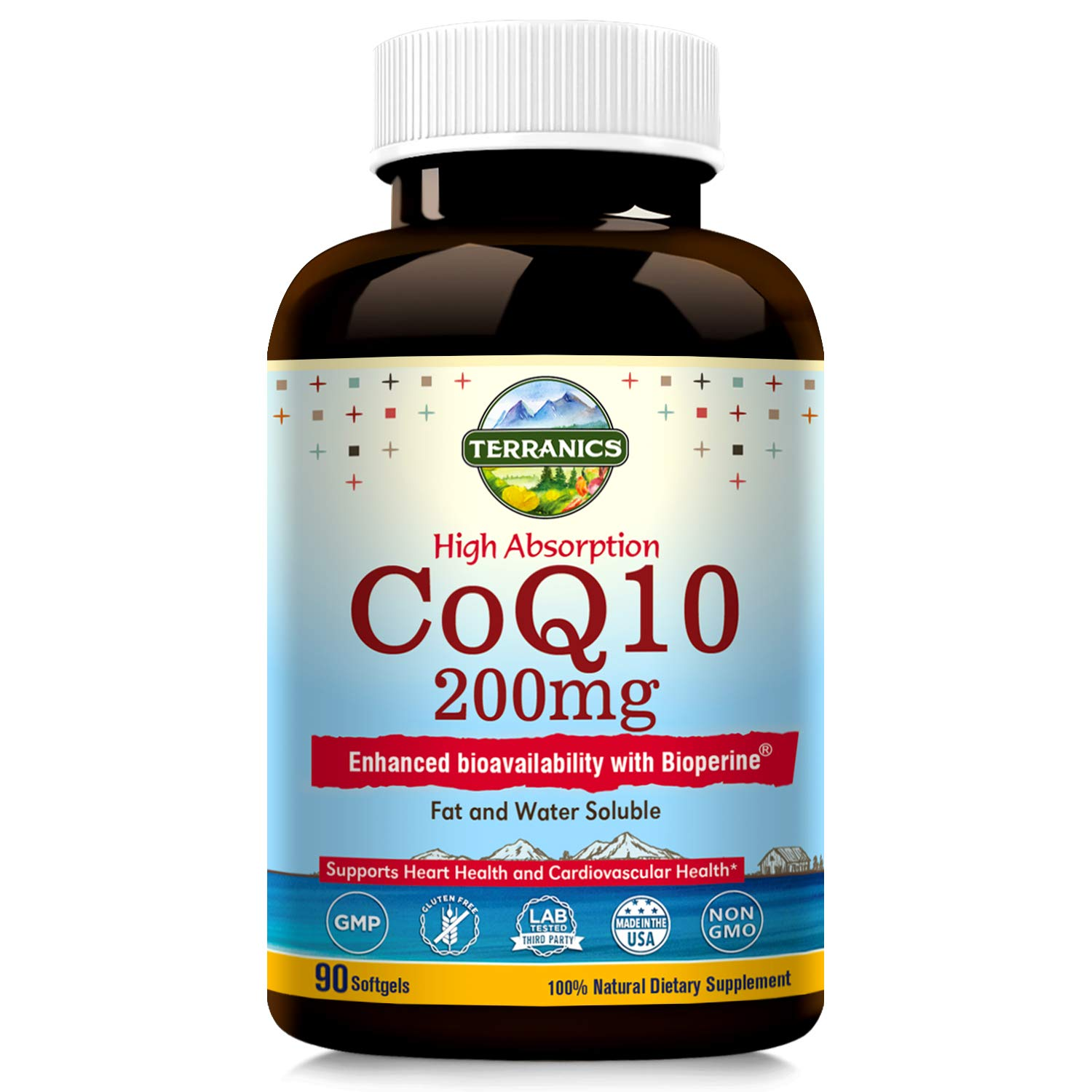 Terranics CoQ10 with BioPerine 200mg, 90 Softgels, Premium Qulity, 3X Better Absorption, Water and Fat Soluble, Supports Heart Health and Energy Production, Non-GMO, Soy, Dairy & Gluten Free, for Men by Terranics