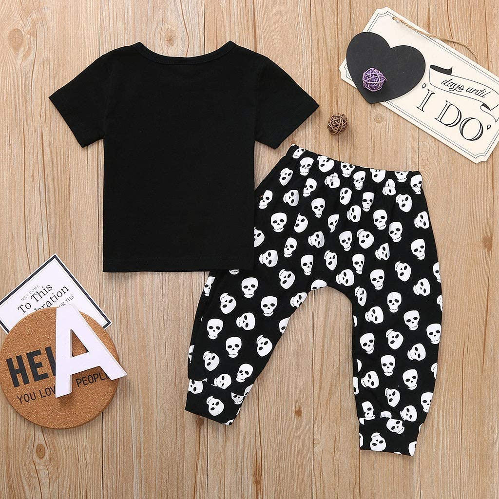 Cartoon Skull Hole Pants Outfits Set Toddler Baby Halloween Letter Print Short Sleeve Tops