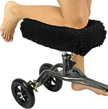 Vive Knee Walker Pad Cover - Plush Synthetic Faux Sheepskin Scooter Cushion - Accessory for Knee Roller - Leg Cart Improves Comfort During Injury - ...