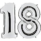 BESTOYARD 40 Inch Helium Foil balloons Birthday Number 18 Balloons for Birthday Wedding Anniversary Decoration Number 18 Silver
