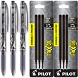 Pilot Frixion Point Gel Ink Stick Pens, Erasable, Extra Fine Point 0.5mm, Black Ink, Pack of 3 with Bundle Refills