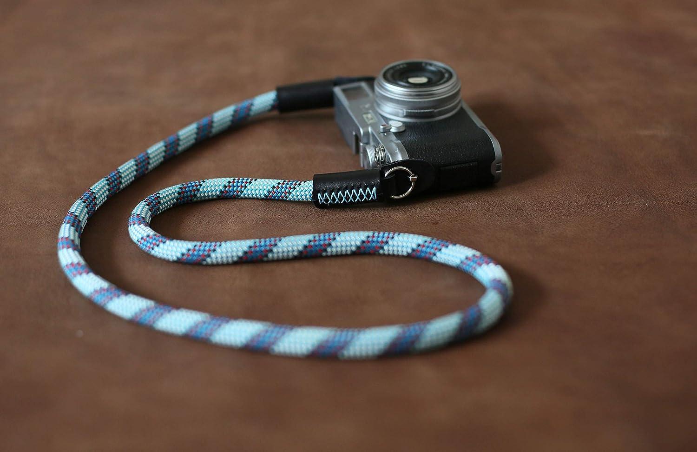 Camera neck strap Pale blue pattern black leather Hand sewing B type,form windmup,100% handmade,Customizable
