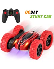 OCDAY 2.4GHz Remote Control Stunt Car 4WD Double-Side 360° Spins and Flips with LED Lights for Kids Toddlers