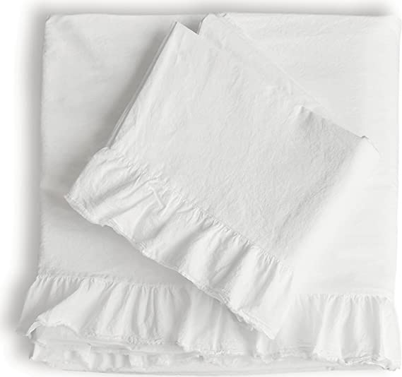 PIU Belle Shabby Chic de Volantes 4pc Juego de sábanas Reina o Rey 100% algodón rústico francés país Estilo Frilled Folios, Color Blanco: Amazon.es: Hogar