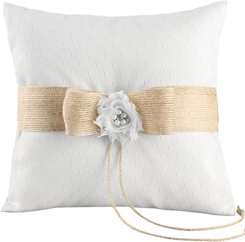 Ivy Lane Design Miranda Collection Ring Pillow, 8-Inch, White