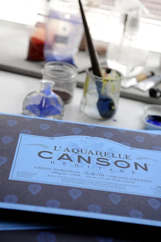 Canson La Acuarela Canson herencia Atrapaluz bloque 4/lados 20/hojas grano satinado 23 x 31 cm
