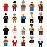 22 pcs Minifigures Building Sets Community People with Interchangeable Hats for Preschool-Sized Building Bricks 100% Compatible - Come with 22 Individual Baseplates