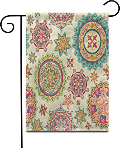 Crysss 12.5x18Inch Garden Flag Festive of Colorful Floral Pattern in Retro Rangoli Christmas Outdoor Home Decor Double Sided Yard Flags Banner for Patio Lawn