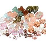 Perlenmischung Nude-Töne mit über 70 Perlen und Cabochons, passend zu den großen Bastelsets mit 400 Teilen in Bronze oder Silberfarben, Perlenset Vintage