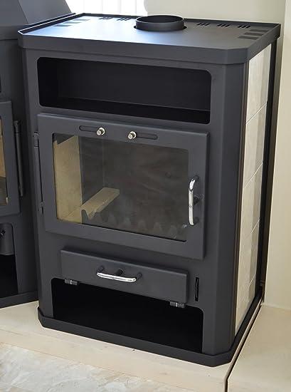 Estufa de leña con caldera integral 14/18 kW calefacción potencia cerámica forro superior flauta