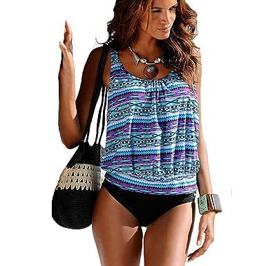 Sortie Pas Cher Yiyuan Tankini - Sans Manche - Femme - Bleu - US 14/UK16/EU44 Acheter Pas Cher Combien Mzyn6hq