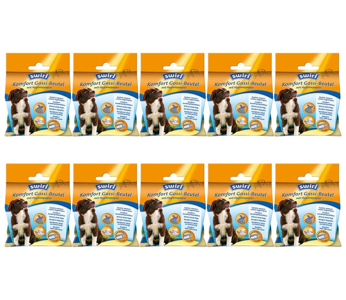 10 x swirl - Komfort Gassi-Beutel mit Hygienepapier, 12 Beutel (= 120 Beutel)