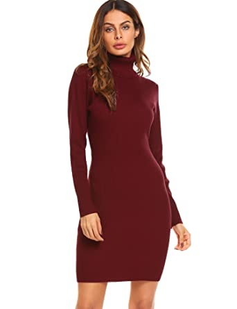 b56edeb80a7 Amazon.com  Baguet Womens Cowl Neck Long Sleeve Flowy Sweater Dress ...