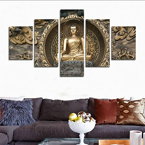 Amazon.com: H.COZY5 Piece Statue of Buddha painting framed painting ...