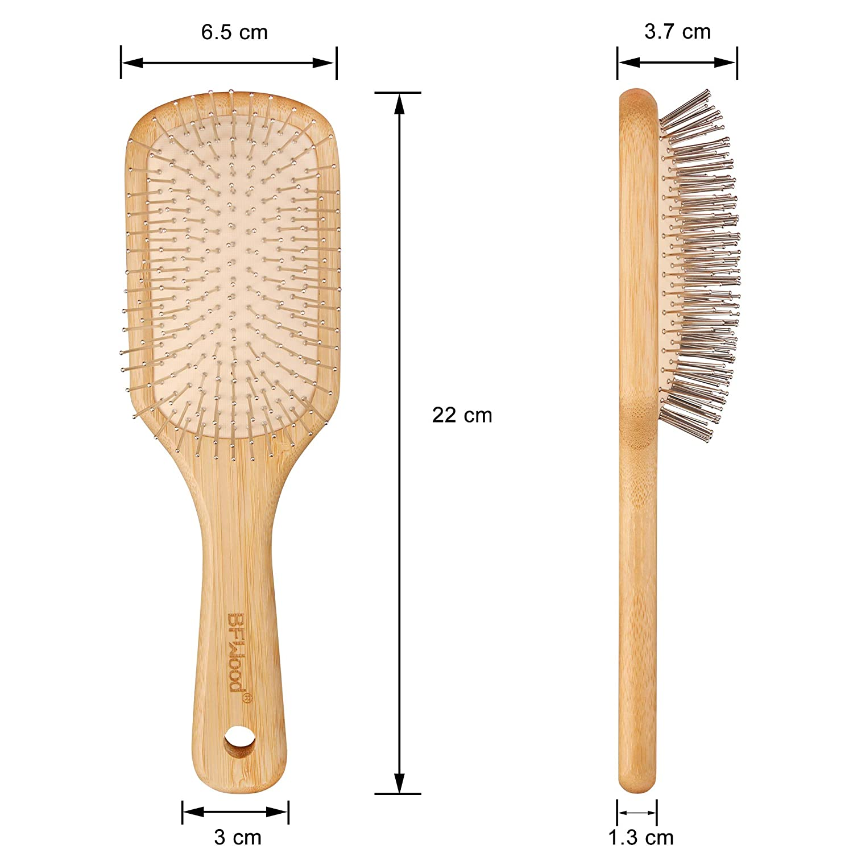 BFWood Bambus-Haarb/ürste mit Stahlborsten f/ür Antistatik /& Kopfhautmassage
