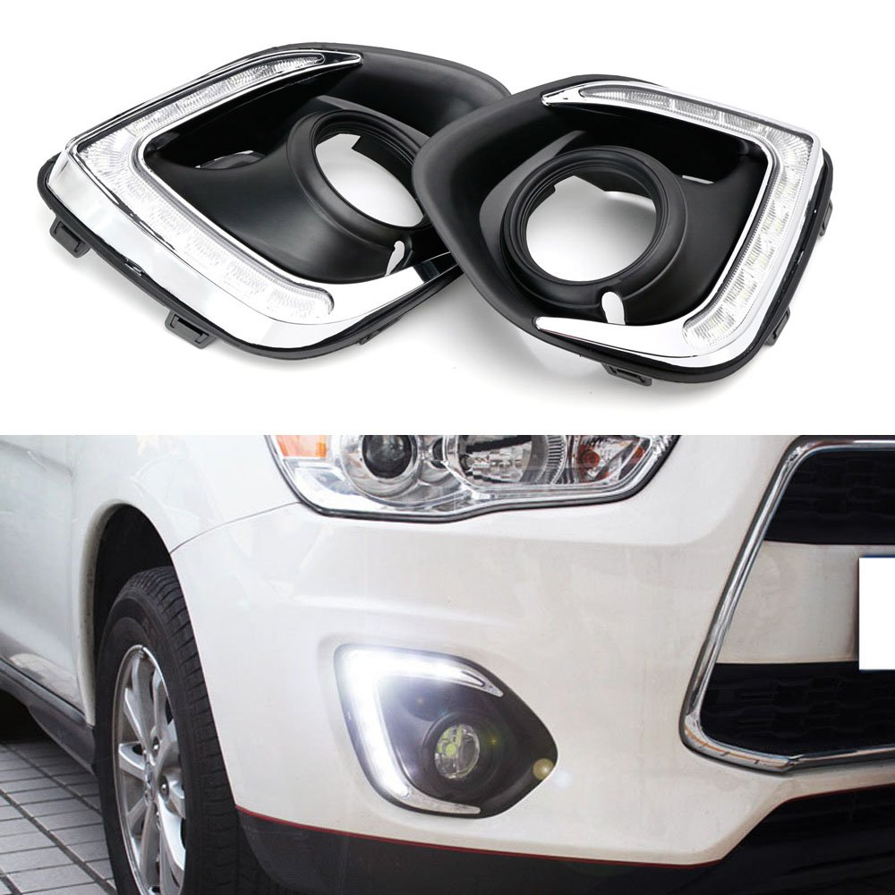 iJDMTOY (2) OEM Fit High Power 9-LED Daytime Running Lights For 2013-2015 Mitsubishi Outlander Sport, Xenon White