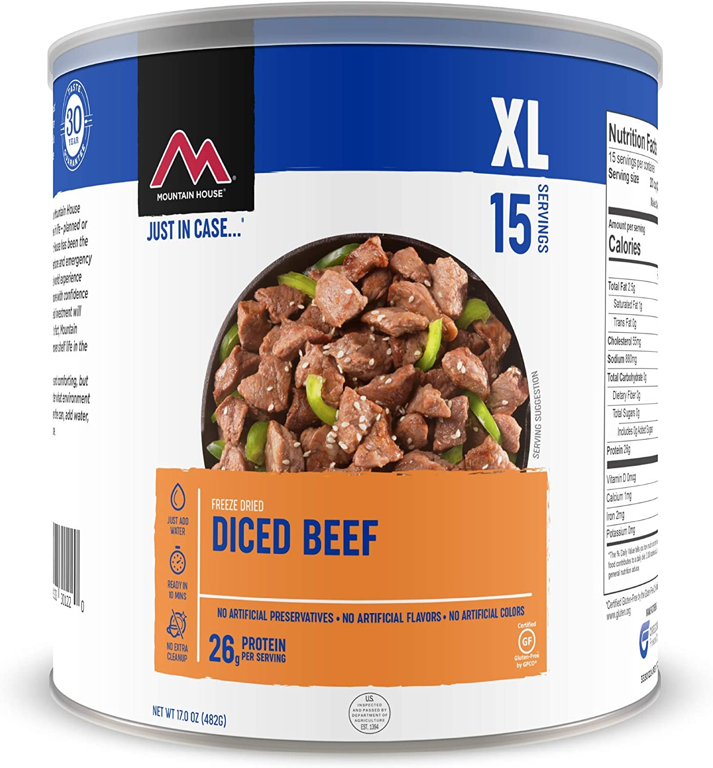 Mountain House Diced Beef | Freeze Dried Survival & Emergency Food | #10 Can | Gluten-Free