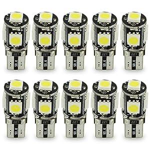 10x T10 W5W LED no hay errores Bombillas exteriores 5 SMD 5050 Luz Coche trasera Lámpara Blanco Xenon Luz de interior T10 Wedge Lampara para Coches luces de la matrícula luces laterales 12V