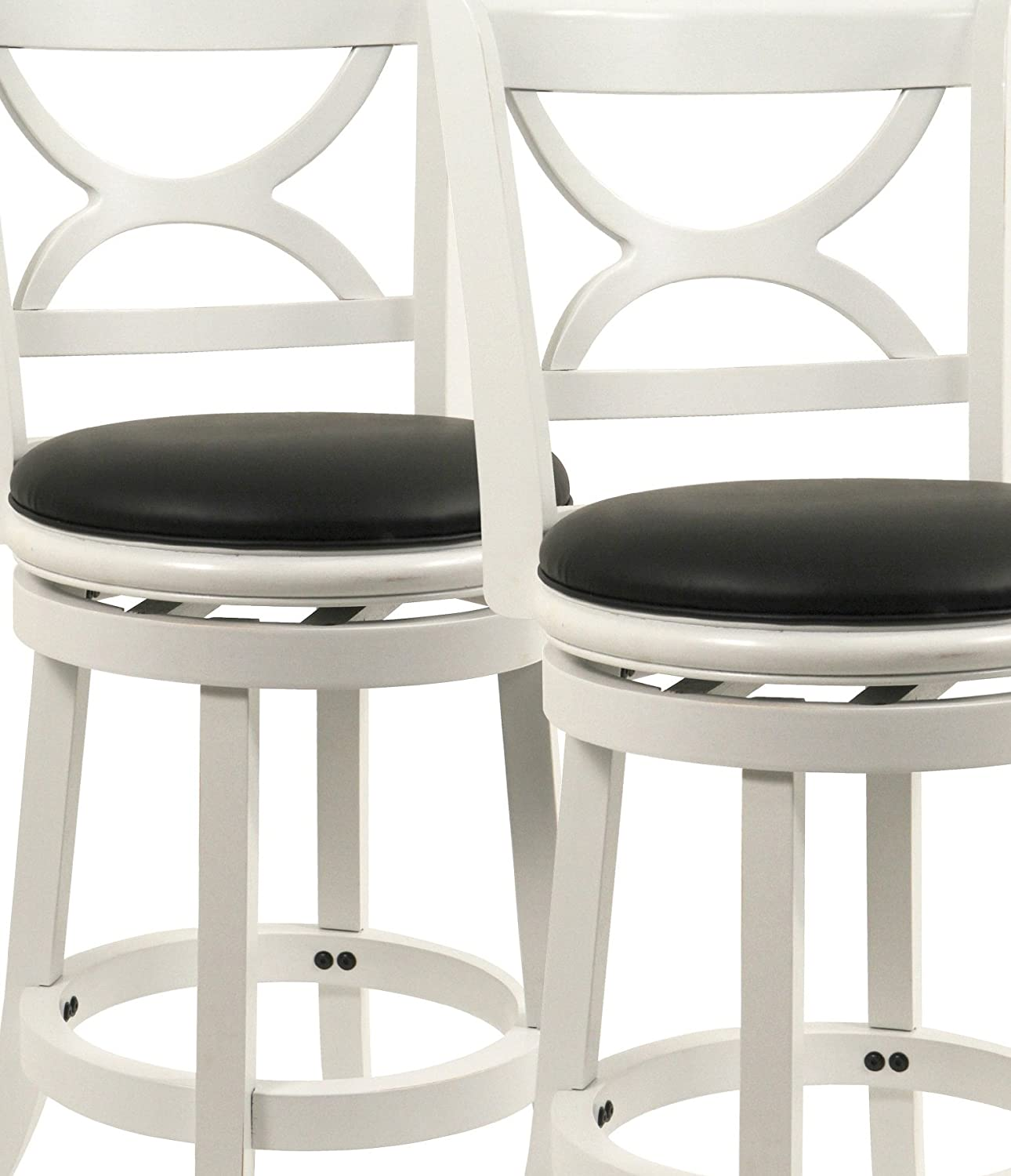 Boraam 3724 Florence Counter Height Stool, 24-Inch, Distressed White, 2-Pack