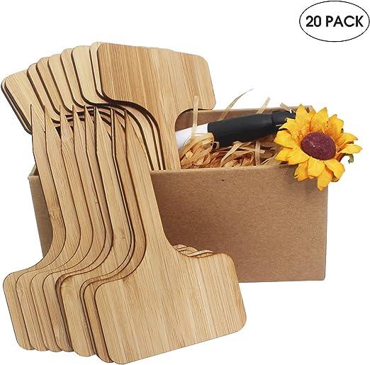 Rye Living - Etiquetas de bambú para Plantas (20 Unidades, 6 x 10 ...