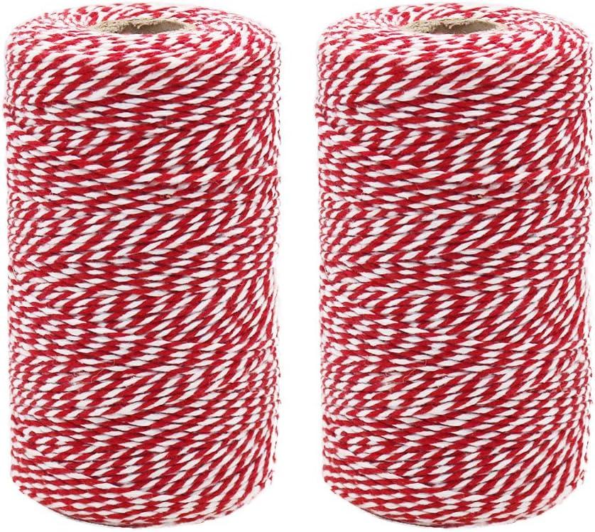 Cuerda de cordel rojo y blanco, 200 m x 2 rollos de cuerda de ...