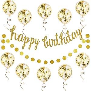 12PCS Gold Happy Birthday Banner Confetti Balloon Birthday Decoration Kit, Gold Glittery Birthday Banner Circle Dots Garland Gold Confetti Balloons for Birthday Party Decorations, Pre-Strung