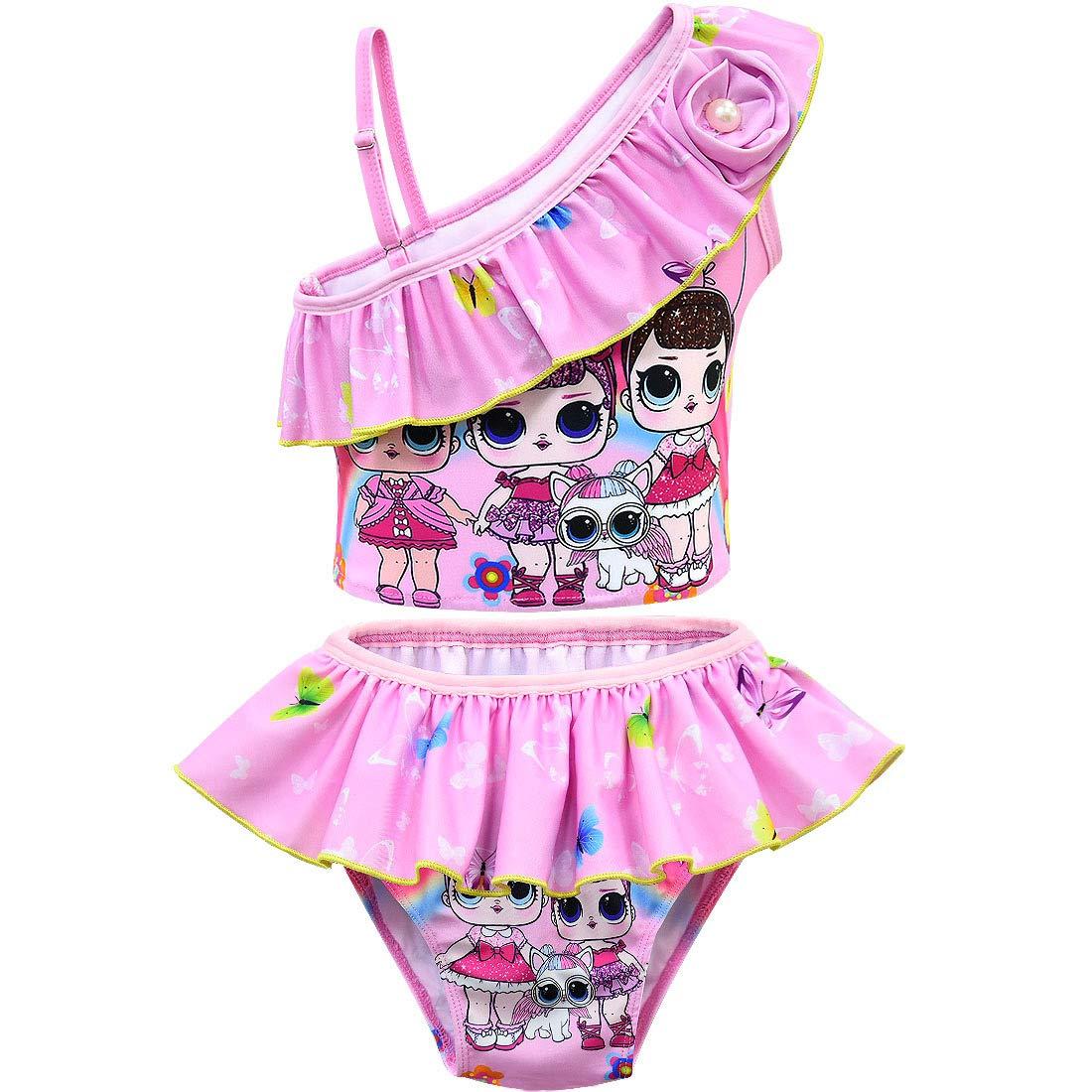 QYS Costume da Bagno Costumi da Bagno Costume Intero da Bagno per Bambina,Pink,100cm