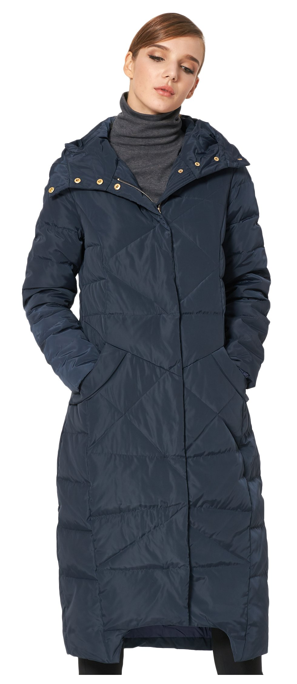 Orolay Women's Puffer Down Coat Winter Maxi Jacket with Hood Navy S