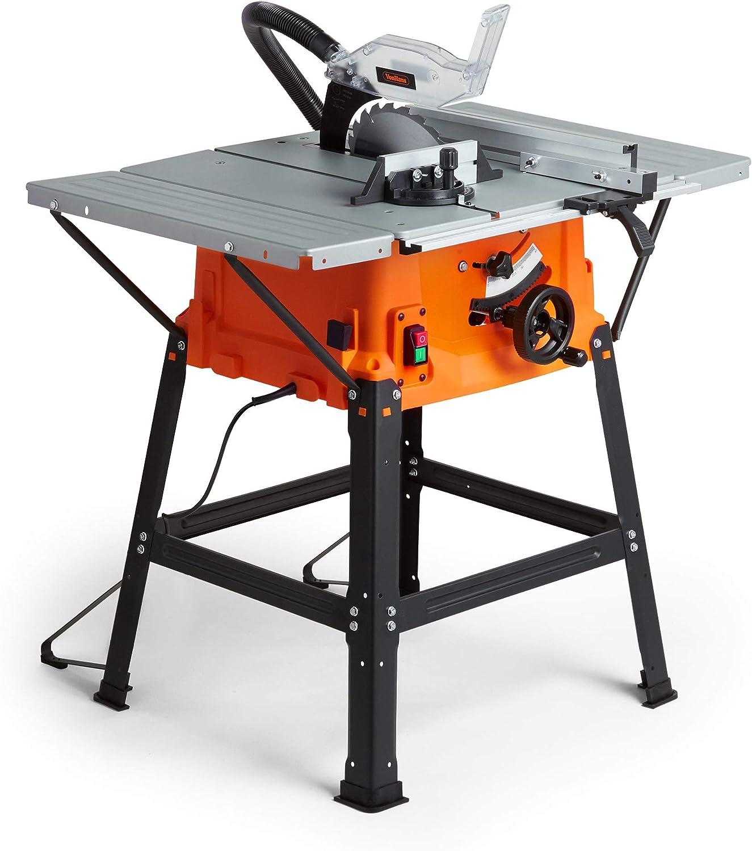 "VonHaus 테이블 쏘-원형 톱 기능 1800W 10""(250mm), 5500rpm 언더 프레임 – 부착 가능한 테이블 측면이있는 고사양 – 카바이드 팁 톱날 고정식으로 세로 및 각도 절단 수행 : Amazon.co.uk :"