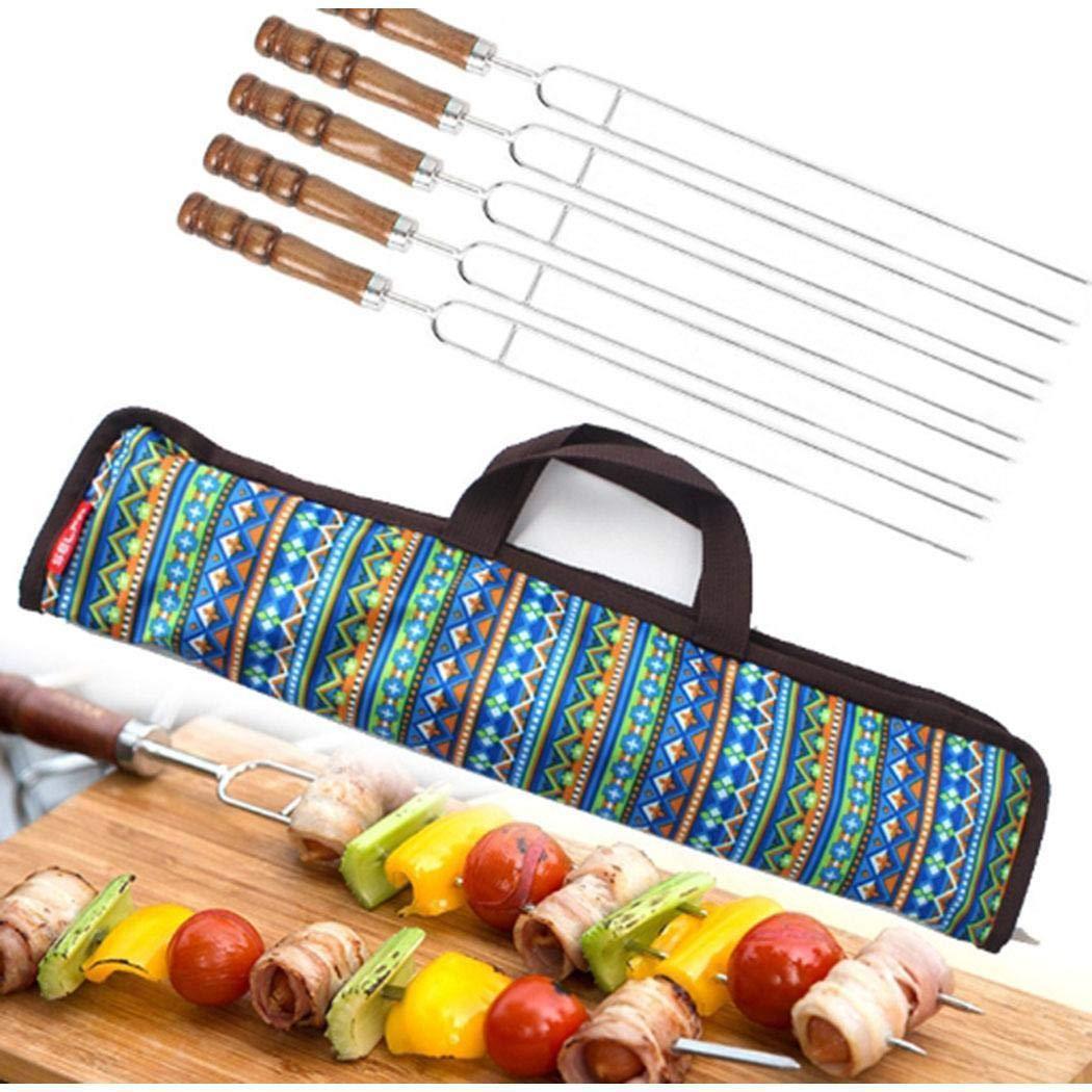 KOKOBUY 5Pcs BBQ Roasting Sticks with Storage Bag, Telescoping Forks U Shape Roasting Sticks, Barbecue Camping Cookware