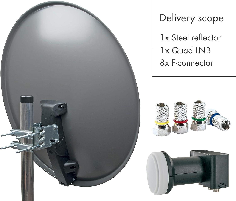 SCHWAIGER -517- Sistema satelital | antena satelital con LNB cuádruple (digital) y 8 conectores F de 7 mm | antena satelital de acero | antracita | 75 ...