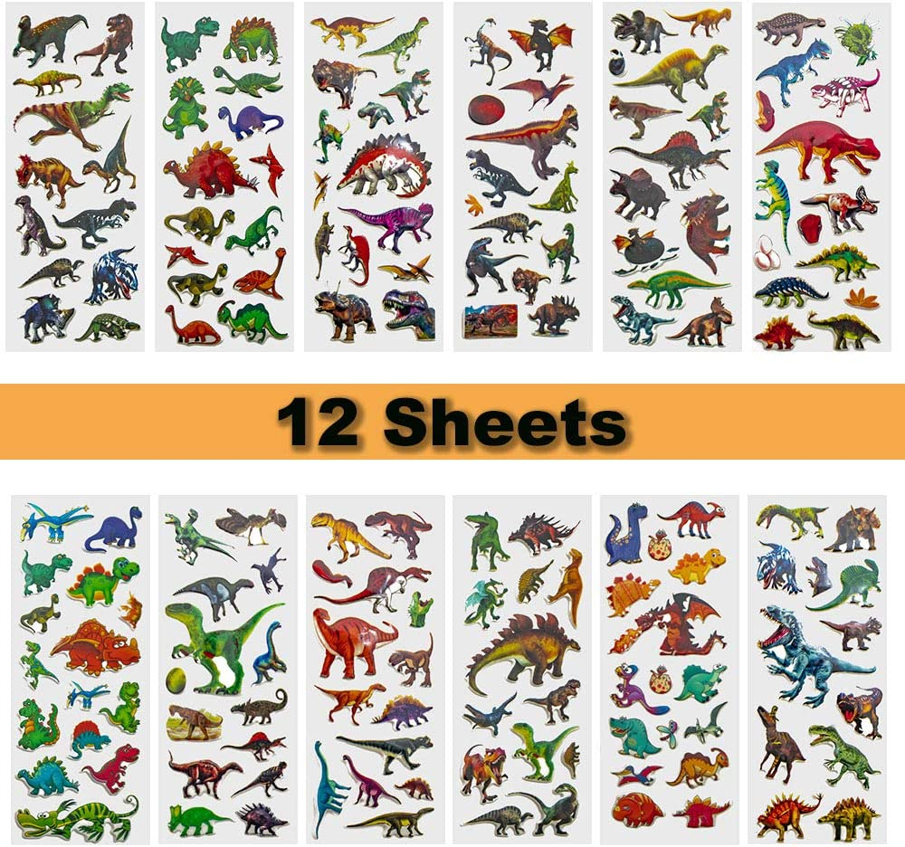 IoYoI Dinosaur 3D Puffy Stickers Over 230 Dino Theme for Kids Boys Girls Toddlers Teacher Reward Potty Chart Training Sticker