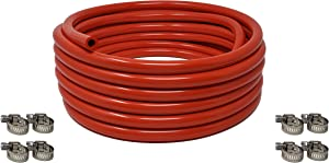 """Sealproof Red 5/16-Inch ID, 9/16-Inch OD Food Grade Tubing, 25 FT, CO2 Gas Line with 8 Hose Clamps, for Homebrewing, Kegerator, Draft Systems, Beer Air Hose, 1/4"""" Wall Thickness - Made in USA"""