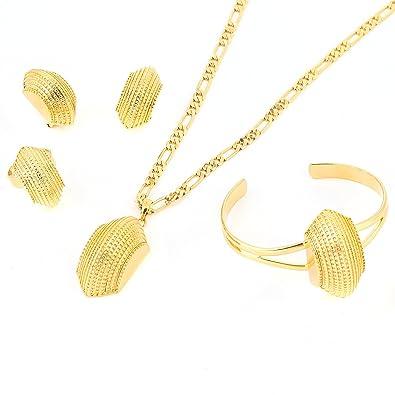 Bridge Shape Ethiopian Gold Plated Jewelry Women Wedding Party