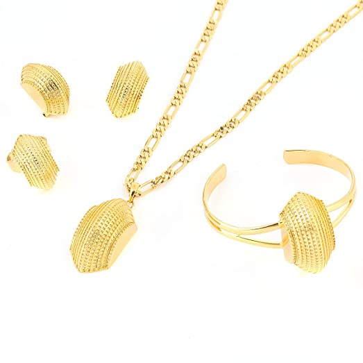 Amazoncom Ethiopian New Jewelry Sets 24K Real Gold Plated
