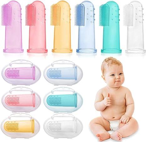 HBselect 6 Piezas Multicolor Cepillo Dientes Bebe Silicona Con Caja Cepillo Dedo Bebe Para 0-24 Meses: Amazon.es: Bebé