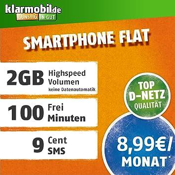 Klarmobil Sim Karte.Klarmobil Smartphone Flat L Mit 2 Gb Internet Flat Max 42 2 Mbit S 100 Frei Minuten In Alle Deutschen Netze Eu Roaming 24 Monate Laufzeit