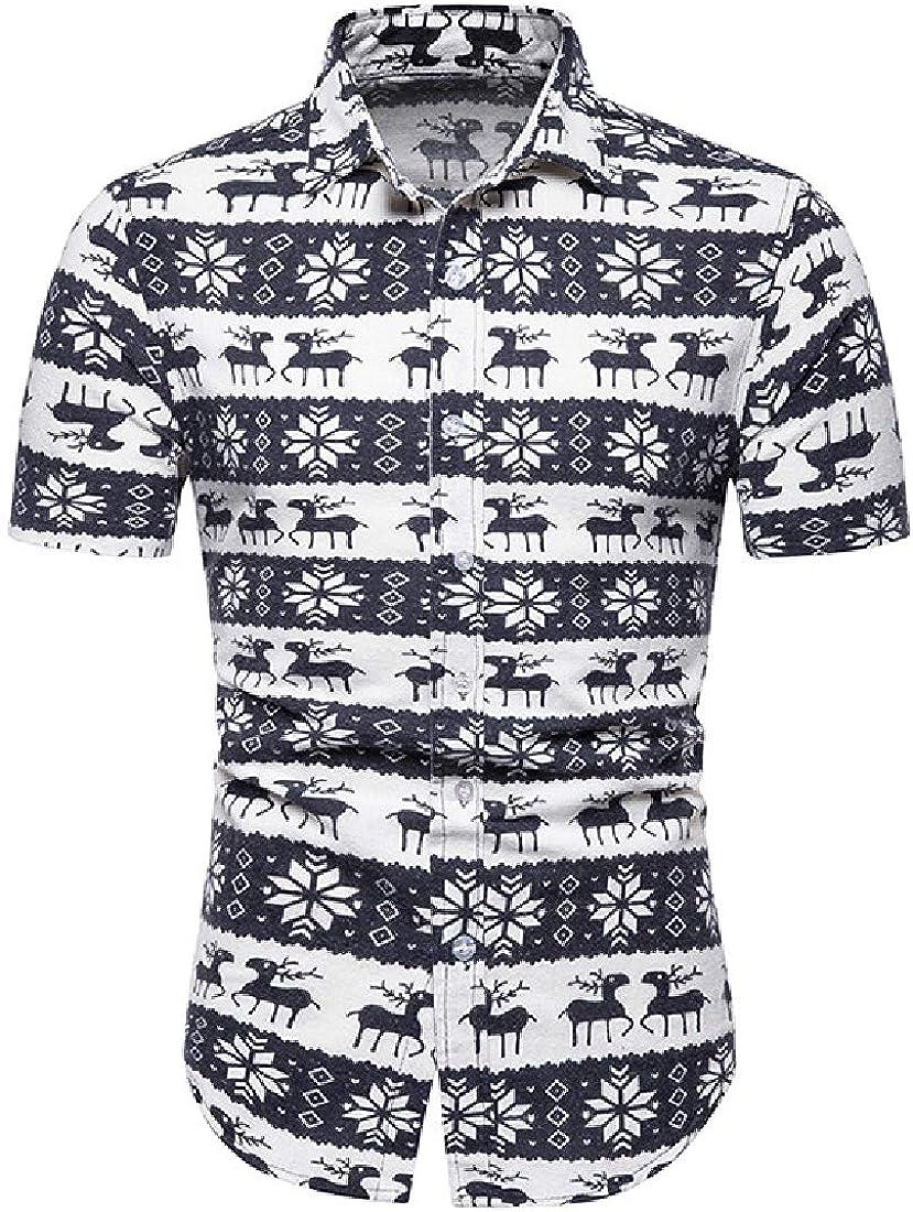 Vska Mens Summer Print Plus-Size Lapel Short-Sleeve Work Shirt