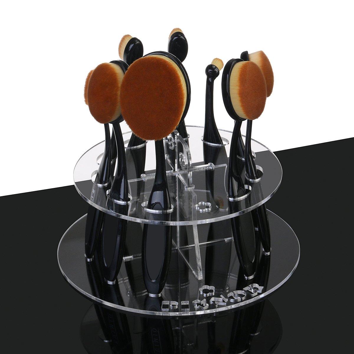 Makeup Brushes Holder Toothbrush Holder Vanity Drying Rack Acrylic Desk Organizer, 10 Slot
