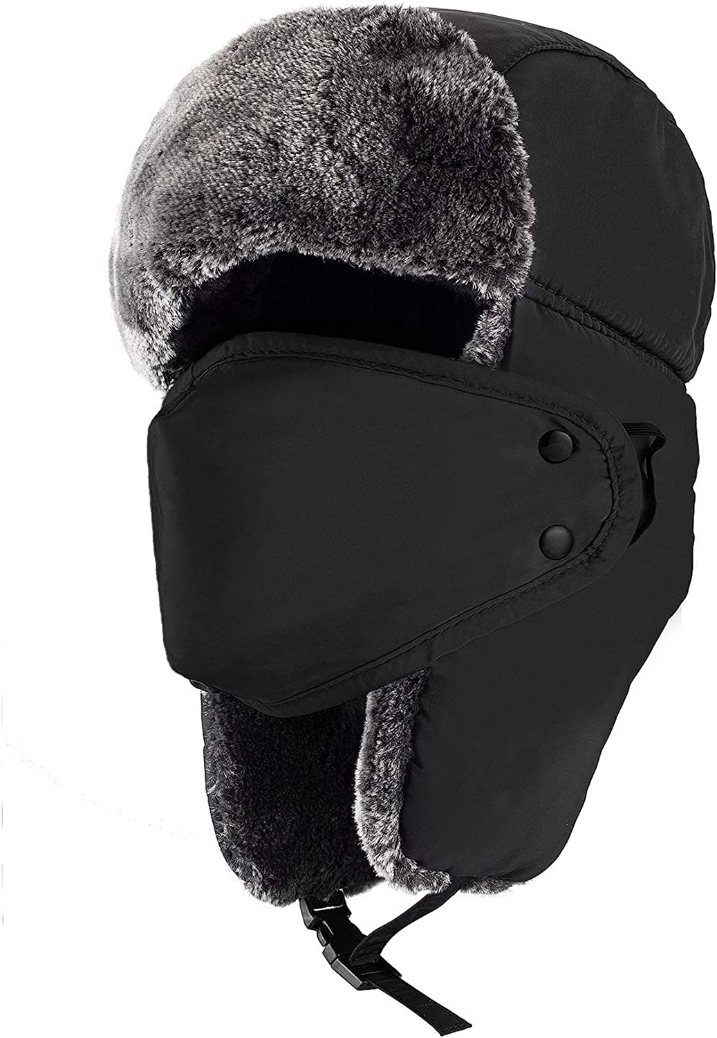Mysuntown Unisex Winter Trooper Trapper Hat Hunting Hat Ushanka Ear Flap Chin Strap and Windproof Mask,Black,22-24 Inches ,One Size Fits All: Clothing