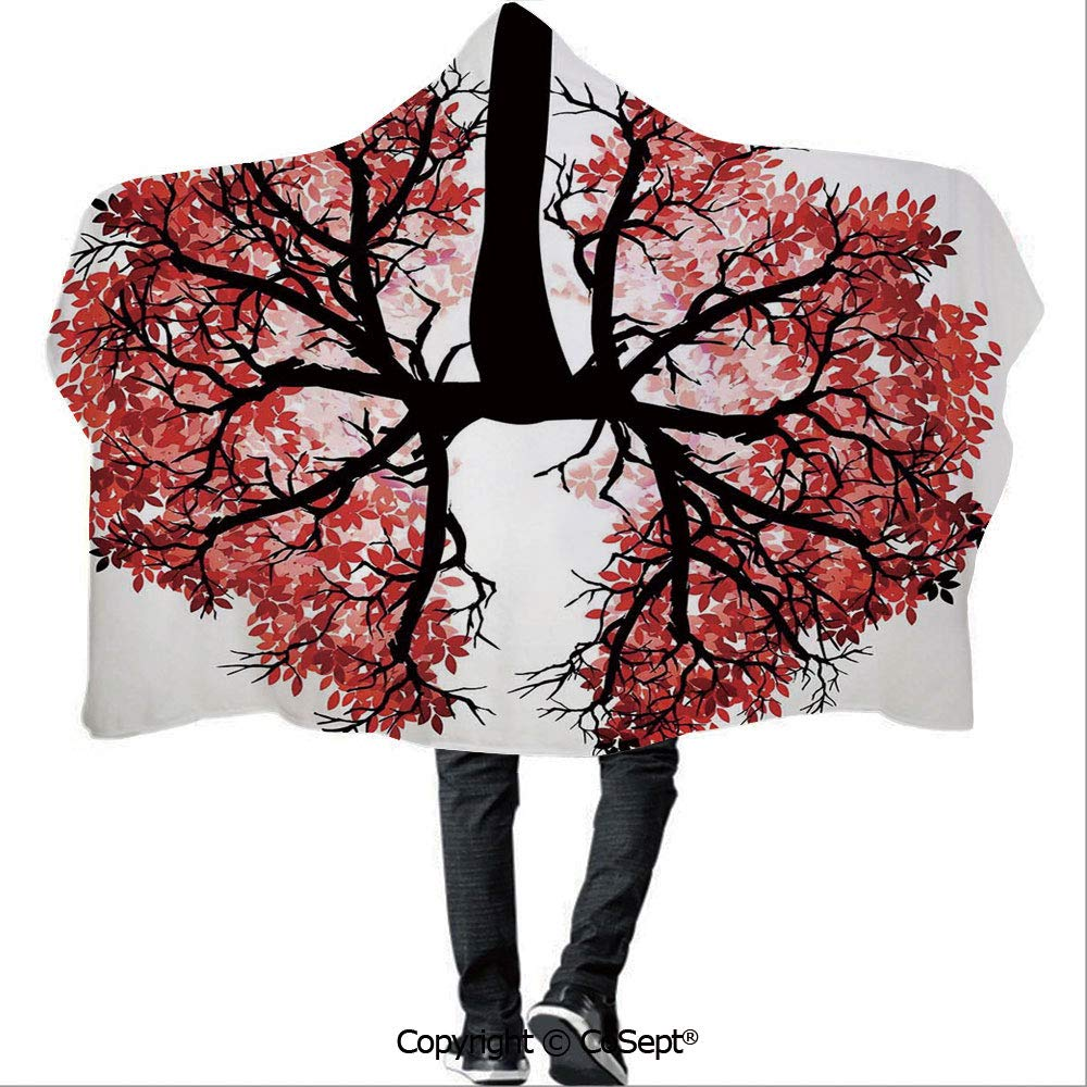 AmaUncle Hooded Blankets,Eco Environment Themed Human Lung Shaped Floral Tree Healthy Lifestyle Nature Print,Warm Cozy Throw Blanket (59.05x78.74 inch),Red Brown