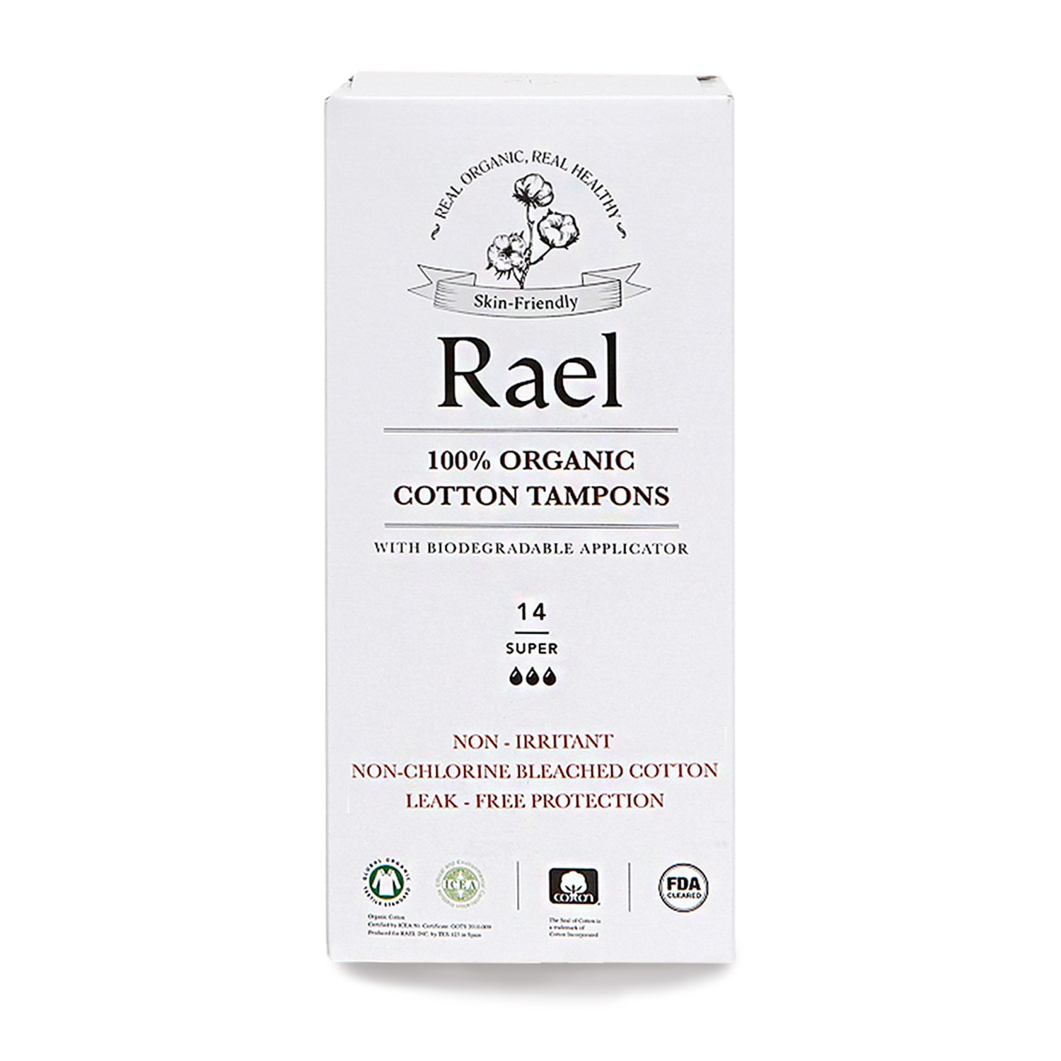 Rael 100% Certified Organic Super Tampons, Non-Chlorine Bleached Tampons with Biodegradable Cardboard Applicator(28 Total) (2 Packs)
