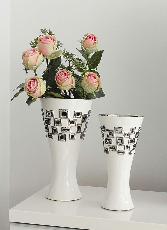 Dreamlight Vase de Table Moderne d/éco Vase Torino en c/éramique Blanc//Argent Hauteur 33 cm