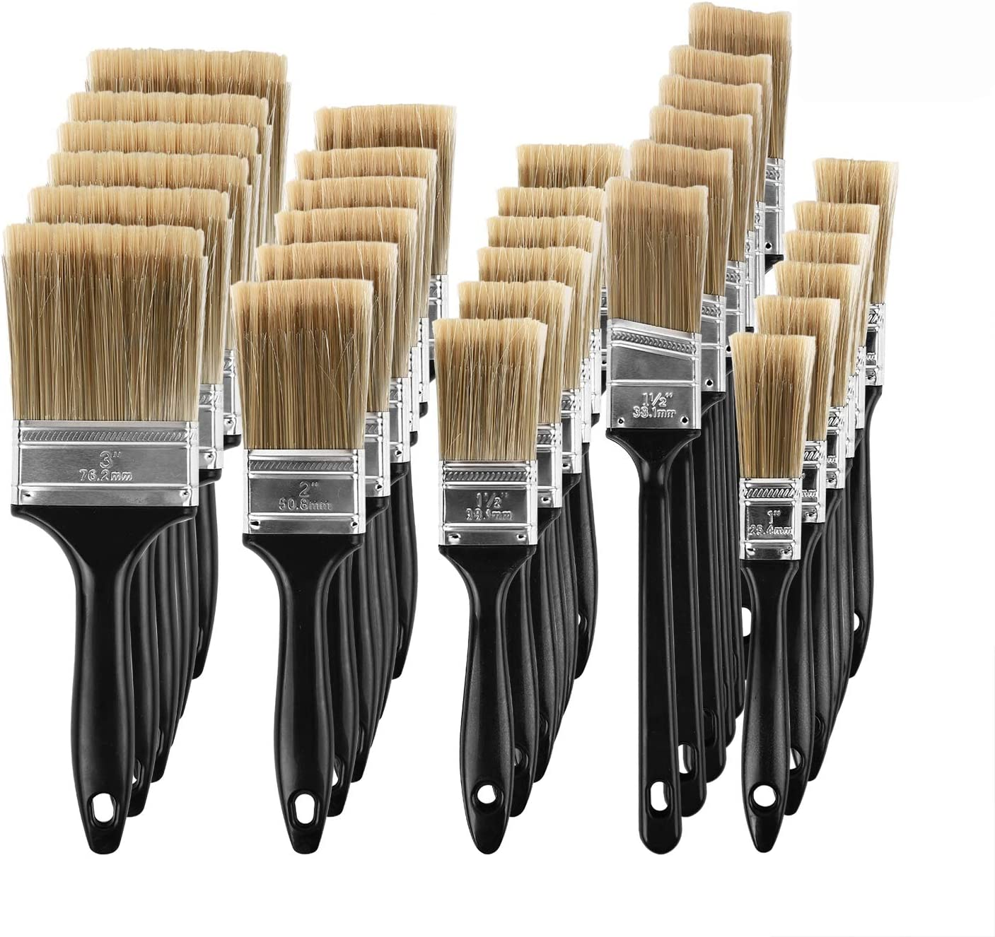 KINJOEK Paint Brush 30 Pieces, Home Wall Trim House Chip Paintbrush Set, Professional Multi-Purpose Home Repair Tools for DIY Paint Stains Varnishes Glues Acrylics Cabinet Deck Fence Edge Door