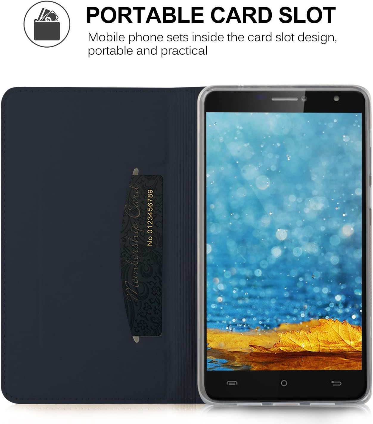 KuGi Funda Elephone S8, Slim Flip Cover Carcasa Cubierta de Cuero ...