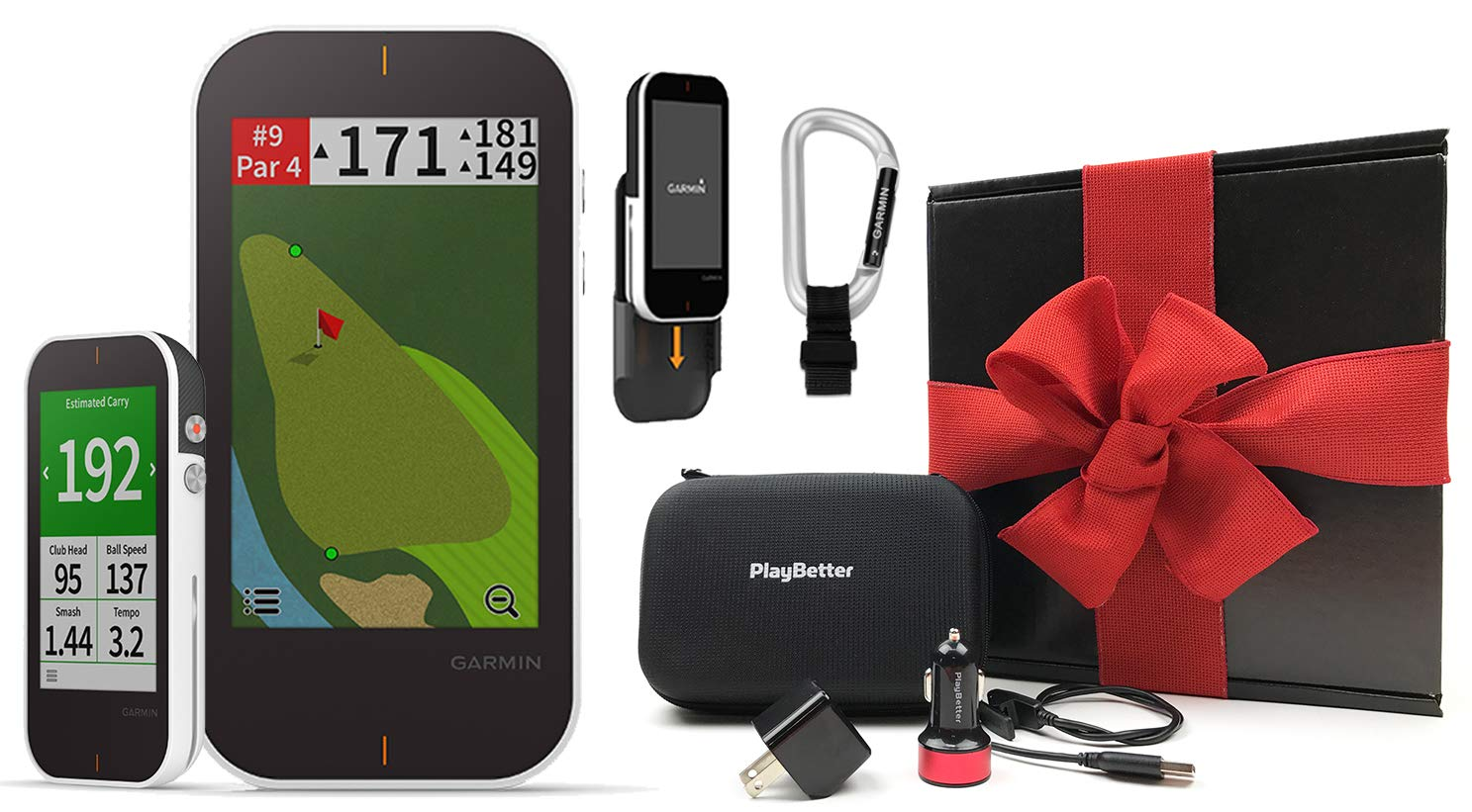 Garmin Approach G80 Golf GPS & Launch Monitor Gift Box Bundle with PlayBetter USB Wall/Car Adapters & Hard Case | Cart/Trolley Mount & Carabiner Clip | 41,000 Courses | Black Gift Box, Red Bow