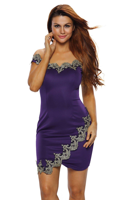 bueno Nuevo Plus Size morado y oro encaje Bodycon Mini vestido Club ...